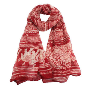 Elephant Printed Long Scarf Scarves Sunflower's Home Red