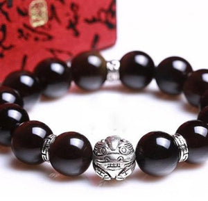 Natural Obsidian Beads Charms 925 Sterling Silver Bracelet Strand Bracelets GQTorch Jewelry Store With Brave Troops