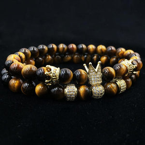2 pcs Luxury Natural Tiger Eye Stone Bracelets NOROONI Store Yellow 16cm
