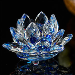 Feng Shui Crystal Lotus Flower Figurines & Miniatures HC Arts&Crafts Store Blue