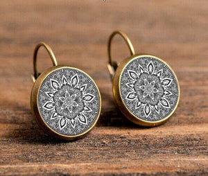 Mandala Zenny Drop Earrings Drop Earrings Caxybb Store bronze