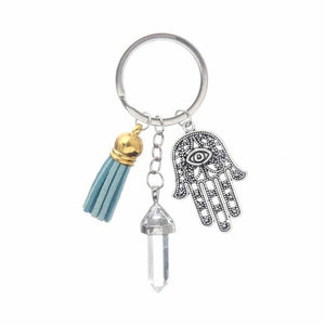 Healing Crystals and Hand of Fatima Keychain Key Chains Global Sourcing Union clear