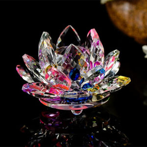 Feng Shui Crystal Lotus Flower Figurines & Miniatures HC Arts&Crafts Store Colorful