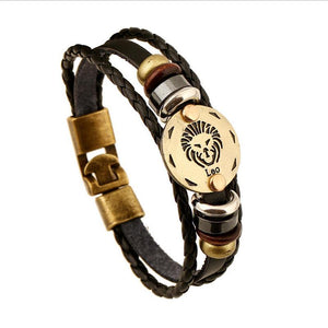 Unique Zodiac Constellation Leather Bronze Bracelet Charm Bracelets zenshopworld Leo