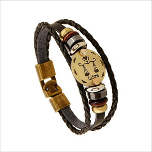 Unique Zodiac Constellation Leather Bronze Bracelet Charm Bracelets zenshopworld Libra