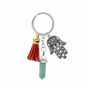 Healing Crystals and Hand of Fatima Keychain Key Chains Global Sourcing Union light green