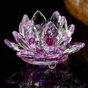 Feng Shui Crystal Lotus Flower Figurines & Miniatures HC Arts&Crafts Store Purple