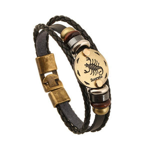 Unique Zodiac Constellation Leather Bronze Bracelet Charm Bracelets zenshopworld Scorpio