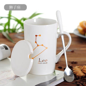 Zodiac Constellation Mug with Stainless Spoon Mugs LanBeiJia Official Store Leo White