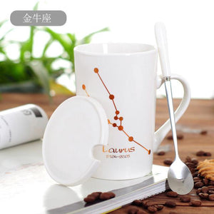 Zodiac Constellation Mug with Stainless Spoon Mugs LanBeiJia Official Store Taurus White