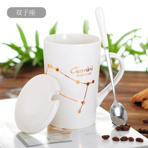 Zodiac Constellation Mug with Stainless Spoon Mugs LanBeiJia Official Store Gemini White