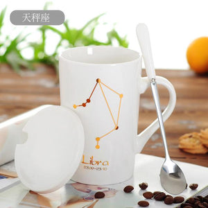 Zodiac Constellation Mug with Stainless Spoon Mugs LanBeiJia Official Store Libra White