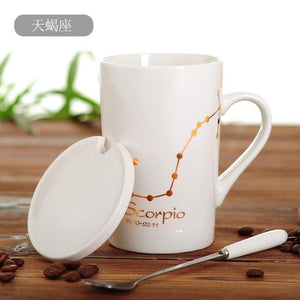 Zodiac Constellation Mug with Stainless Spoon Mugs LanBeiJia Official Store Scorpio White