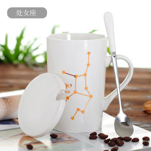 Zodiac Constellation Mug with Stainless Spoon Mugs LanBeiJia Official Store Virgo White