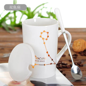 Zodiac Constellation Mug with Stainless Spoon Mugs LanBeiJia Official Store Pisces White