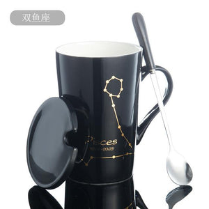 Zodiac Constellation Mug with Stainless Spoon Mugs LanBeiJia Official Store Pisces Black
