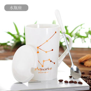 Zodiac Constellation Mug with Stainless Spoon Mugs LanBeiJia Official Store Aquarius White