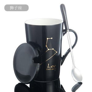 Zodiac Constellation Mug with Stainless Spoon Mugs LanBeiJia Official Store Leo Black