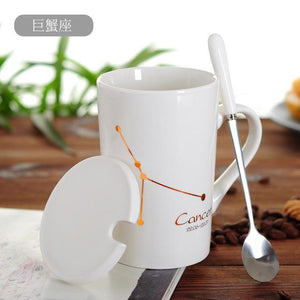 Zodiac Constellation Mug with Stainless Spoon Mugs LanBeiJia Official Store Cancer White