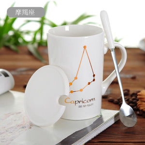 Zodiac Constellation Mug with Stainless Spoon Mugs LanBeiJia Official Store Capricorn White