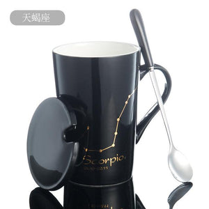 Zodiac Constellation Mug with Stainless Spoon Mugs LanBeiJia Official Store Scorpio Black
