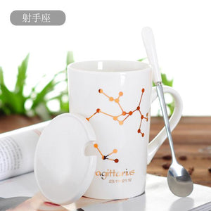 Zodiac Constellation Mug with Stainless Spoon Mugs LanBeiJia Official Store Sagittarius White