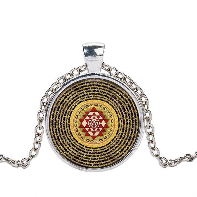 Sri Yantra Manifestation Necklace Caxybb Store silver 2
