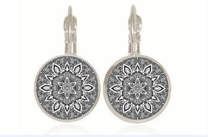 Mandala Zenny Drop Earrings Drop Earrings Caxybb Store silver