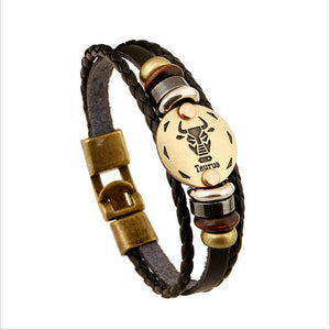 Unique Zodiac Constellation Leather Bronze Bracelet Charm Bracelets zenshopworld Taurus