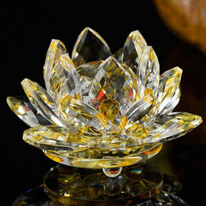Feng Shui Crystal Lotus Flower Figurines & Miniatures HC Arts&Crafts Store Yellow