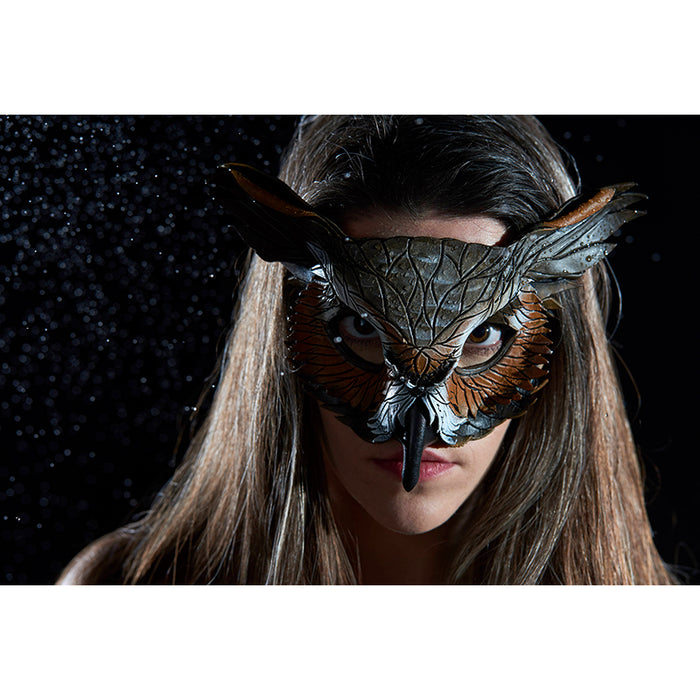 Layered Horned Owl Handmade Genuine Leather Mask