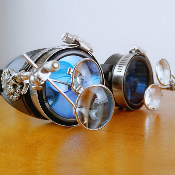 Steampunk Dragon Blue Goggles