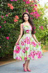Marilyn Dress - Vibrant Pink & Green Floral Burst 1950's Vintage Inspired Halterneck Dress
