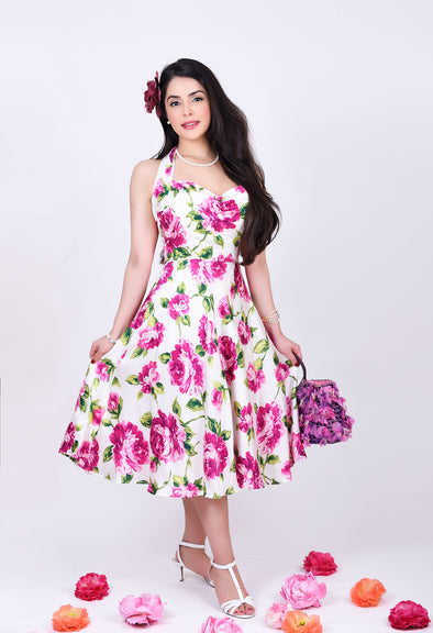 Marilyn Dress - Graceful Pink Roses in Bloom 1950's Vintage Inspired Halterneck Midi Dress