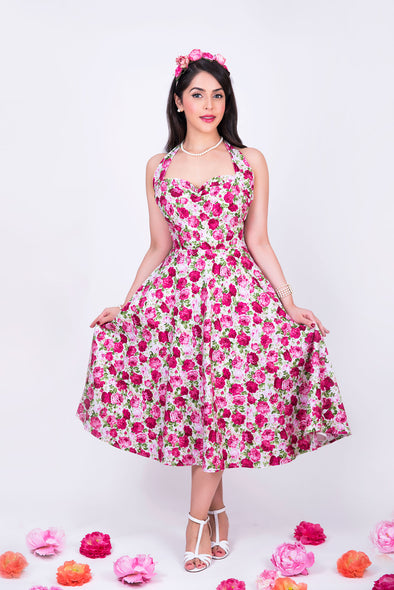 Marilyn Dress - Pink Magenta Dainty Rose Print 1950's Vintage Inspired Halterneck Midi Dress