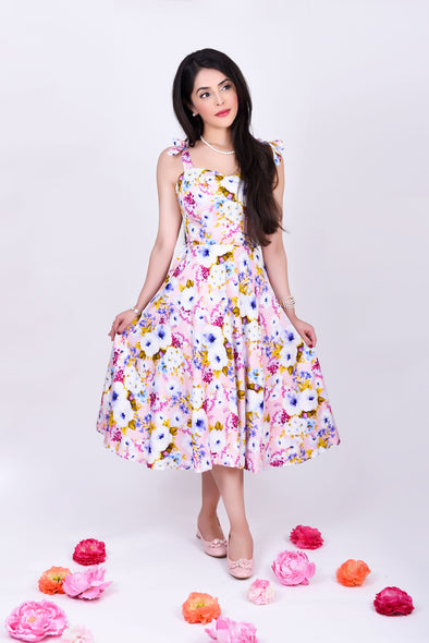 Audrey Dress - Dainty Pastel Pink Florals & Blossoms 1950's Style Midi Dress