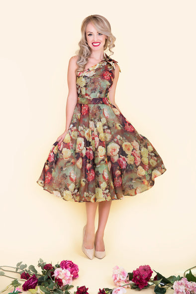 Ava Dress -  Cameo Rose Bouquet Print & One Shoulder Sided Bow Detail 1950's Vintage Inspired Dress