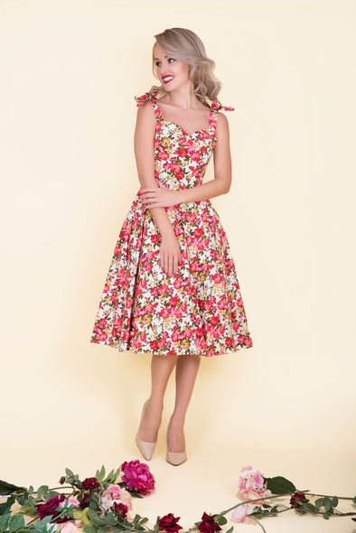 "Audrey Dress - Dainty Red ""Forget Me Not!"" Rose Print 1950's Vintage Style Dress"