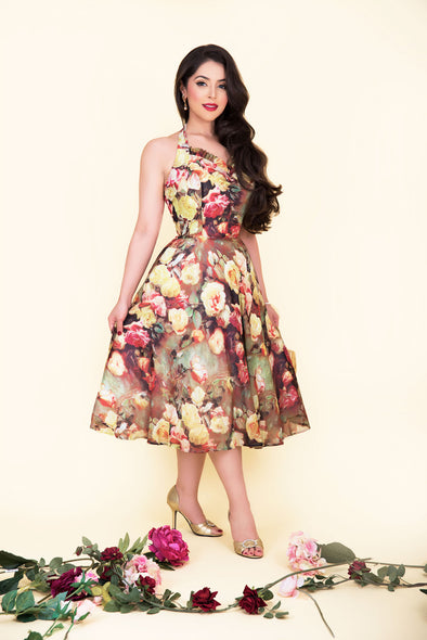 Liz Dress - Antique Cameo Rose Print 1950's Vintage Inspired Halterneck Flared Midi Dress