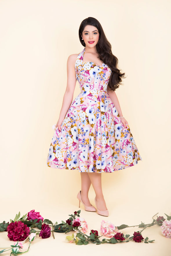 Marilyn Dress - Dainty Pastel Pink & White Blossom Print 1950's Vintage Inspired Halterneck Midi Dress