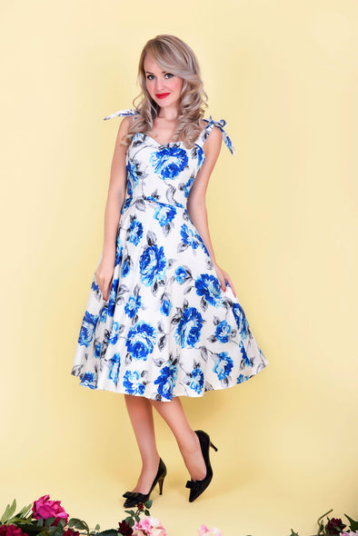 Audrey Dress - Blossoming Blue Floral Print 1950's Vintage Style Midi Flared Dress