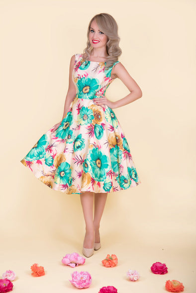 Betty Dress - Vibrant Green Floral Print 1950's Vintage Inspired Midi Dress