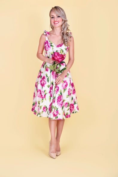 Audrey Dress - Graceful Pink Roses in Bloom 1950's Vintage Style Flared Midi Dress