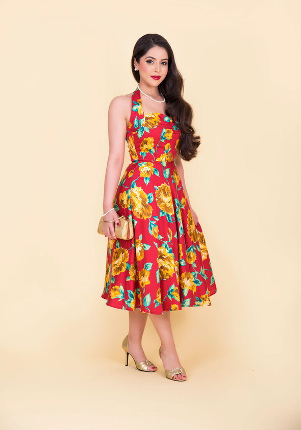 Marilyn Dress - Gold & Scarlett Rose Print 1950's Vintage Inspired Halterneck Midi Dress
