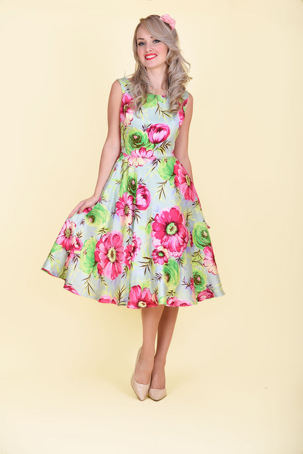 Betty Dress - Vibrant Pink & Green Floral Print 1950's Vintage Inspired Midi Dress