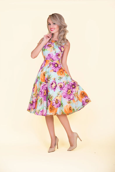 Betty Dress -  Vibrant Sky Blue Floral Print 1950's Vintage Inspired Midi Dress