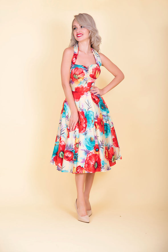 Marilyn Dress - Red & Blue Floral Print 1950's Vintage Inspired Halterneck Midi Dress
