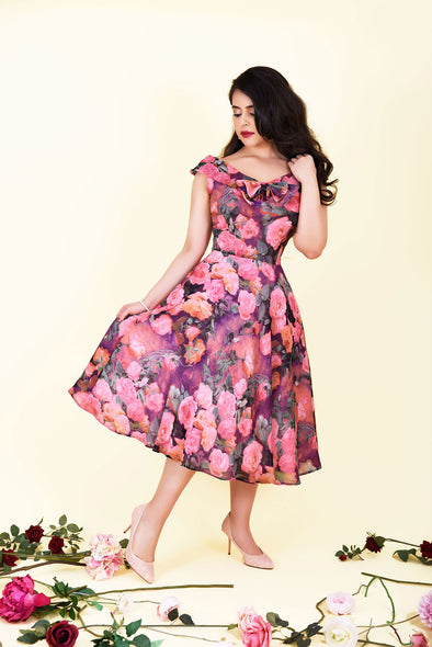 Sabrina Dress - Romantic Pink Rose Print & Bow Detail 1950's Vintage Inspired Midi Tea Dress