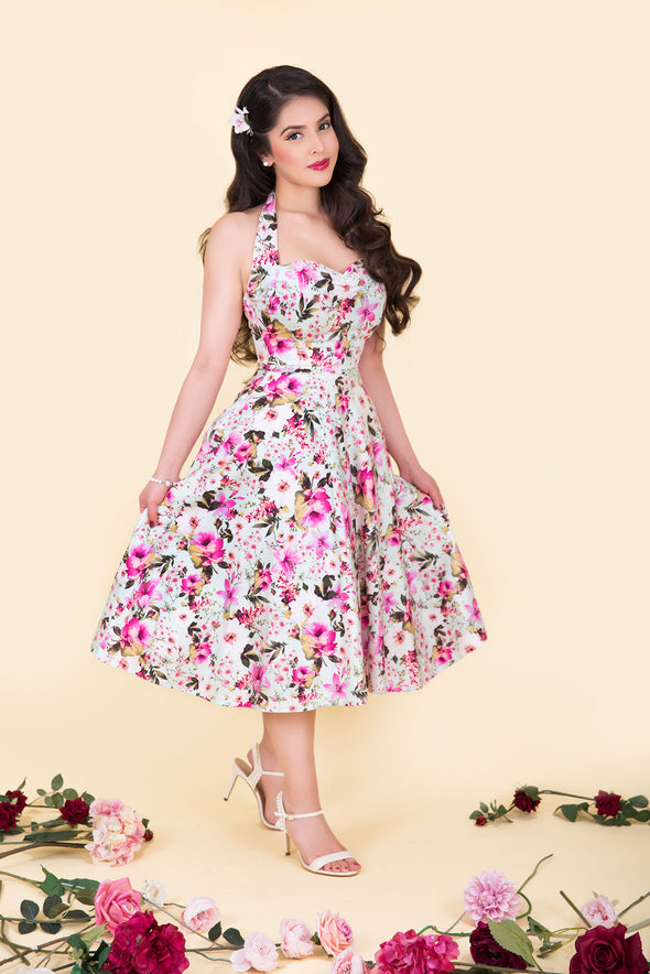 Marilyn Dress - Pink Orchid & Dainty Daisy Dream Vintage Inspired Halterneck Midi Dress