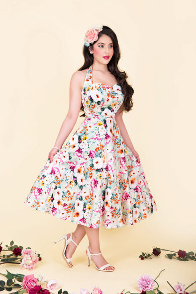 Marilyn Dress -  Vibrant Multi Color Pastel Floral & Blossoms Print 1950's Vintage Inspired Halterneck Midi Dress (Limited Edition)